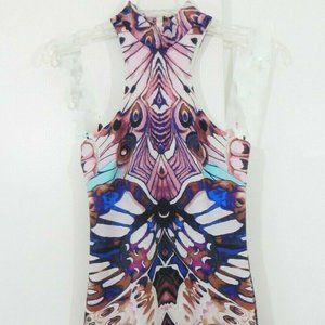 multi color BEBE dress sleeveless mock neck XS